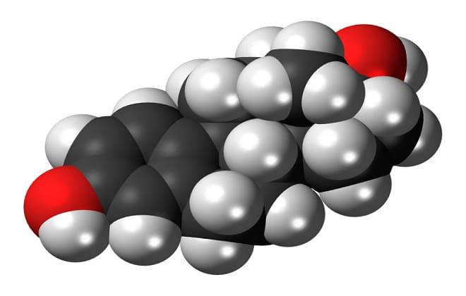 Молекула гормона эстрадиола у женщин во время менопаузы